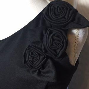 Black Cocktail Dress One Shoulder Nina Leonard